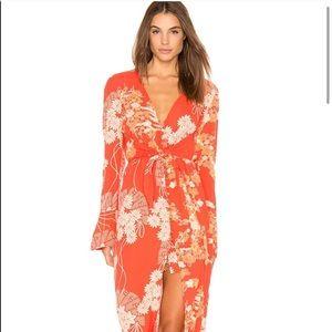 Free People Floral Print Midi Orange Dress